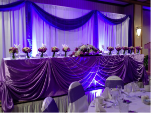 Wedding Reception Banquet Decorations, Head Table and Chair Covers